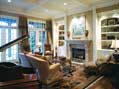 The cozy, elegant living room in a Hughes-Edwards custom build project