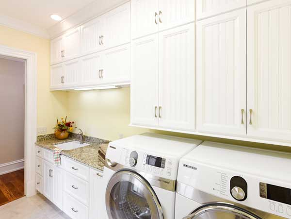Spacious custom laundry room in a Tennessee luxury home
