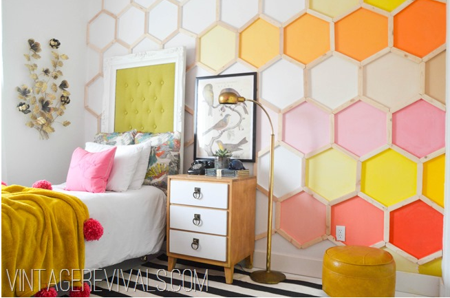 Honeycomb Wall from Vintage Revivals Blog